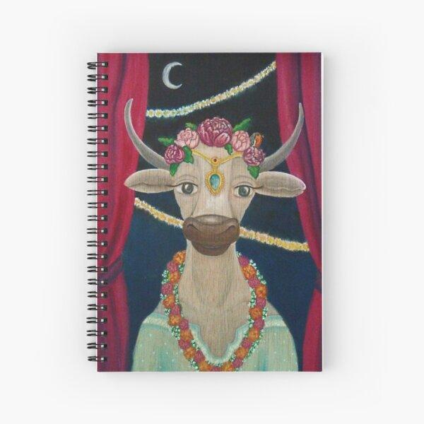 Cow Bride with Aquamarine Gemstone Indian Headpiece Spiral Notebook