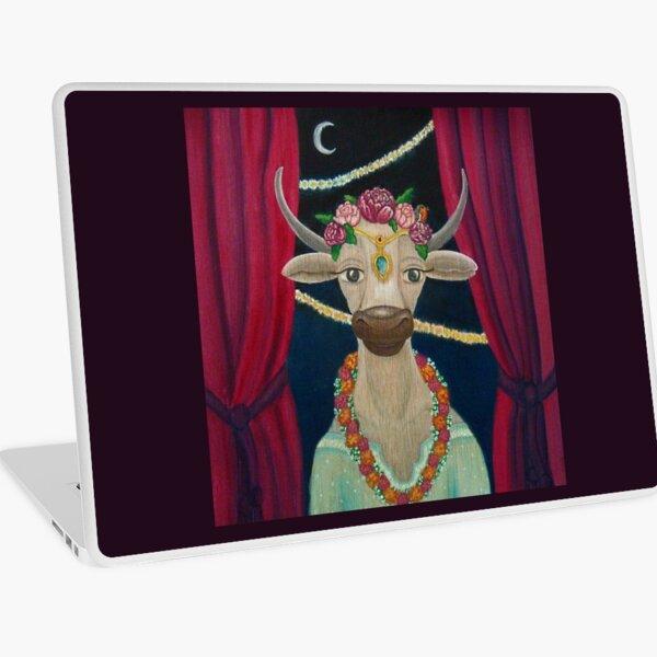 Cow Bride with Aquamarine Gemstone Indian Headpiece Laptop Skin