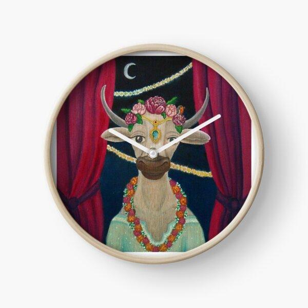 Cow Bride with Aquamarine Gemstone Indian Headpiece Clock