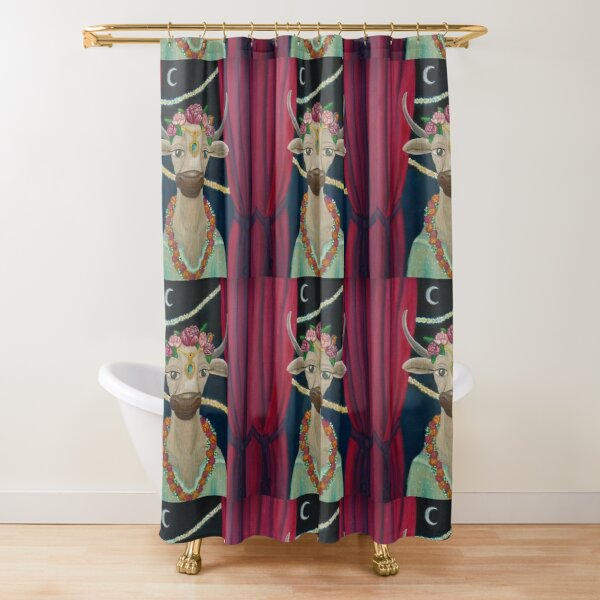 Cow Bride with Aquamarine Gemstone Indian Headpiece Shower Curtain