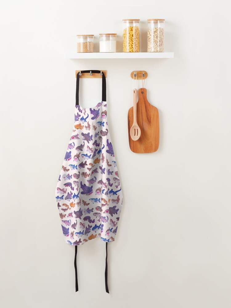 Alternate view of Shark day - pastel Apron