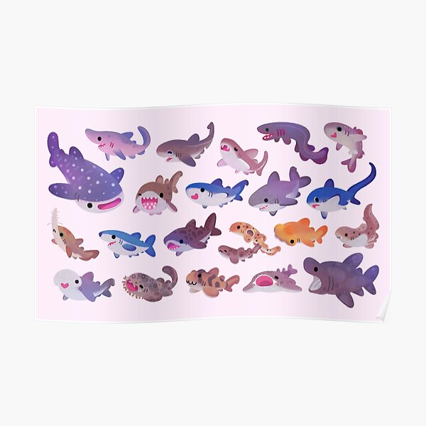 Shark day - pastel Poster