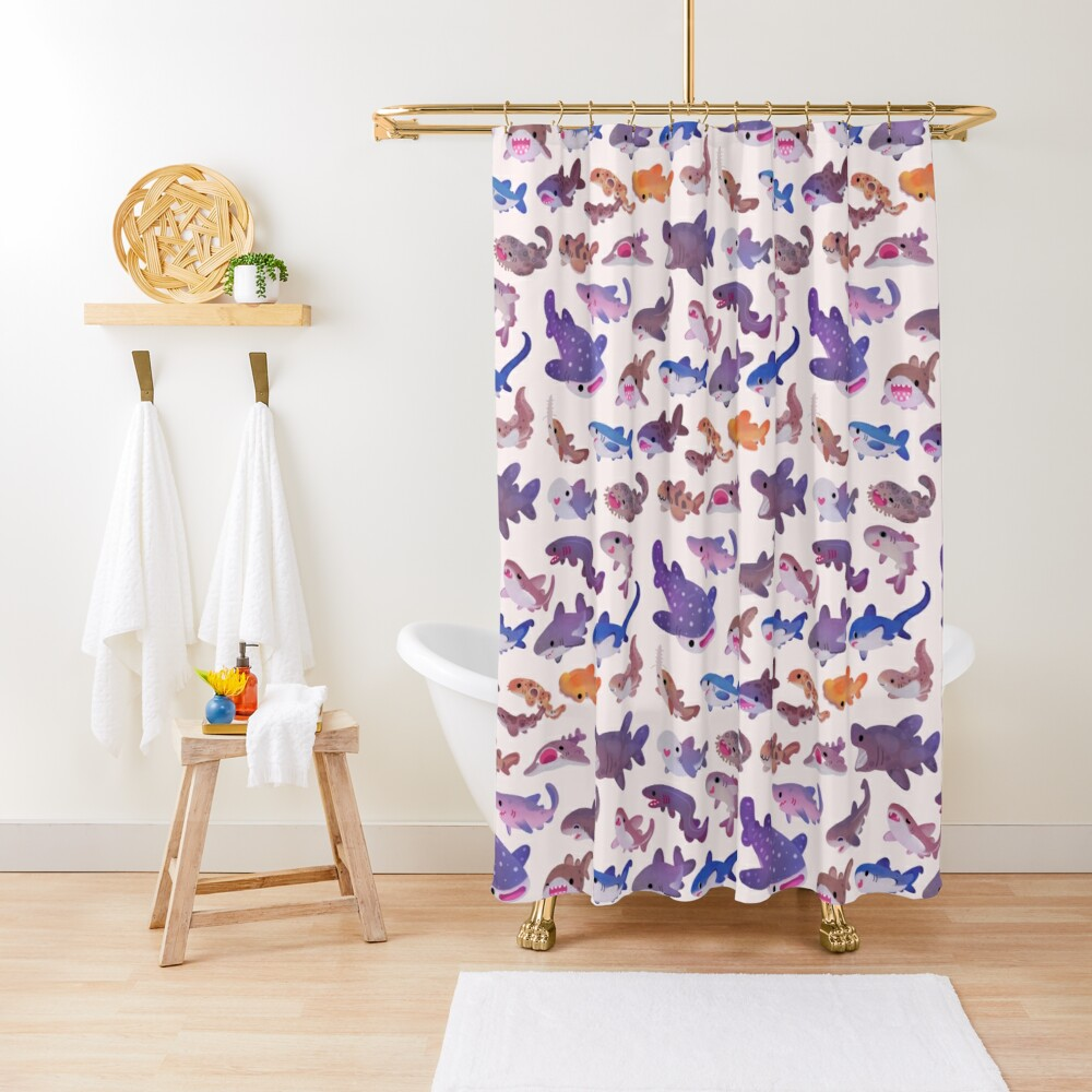 Shark day - pastel Shower Curtain