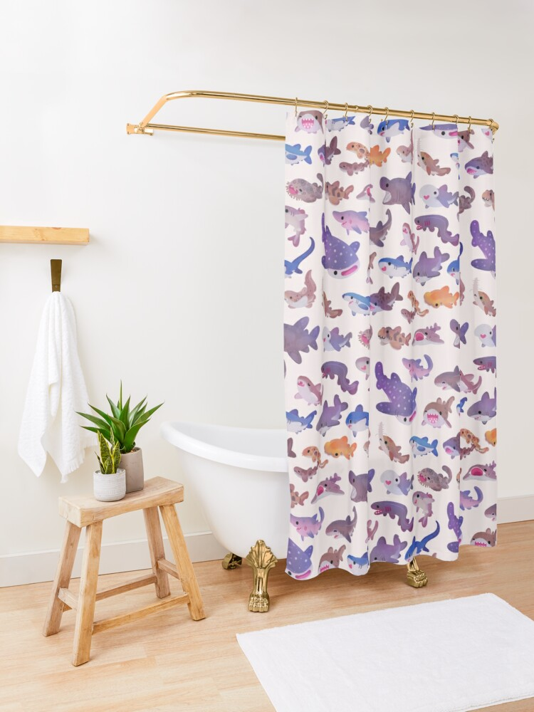 Alternate view of Shark day - pastel Shower Curtain