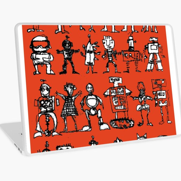 Robots and Aliens in Rows (red background) Laptop Skin