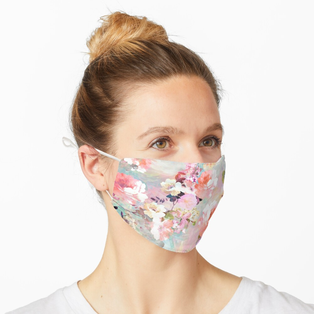 Romantic Pink Teal Watercolor Chic Floral Pattern Mask