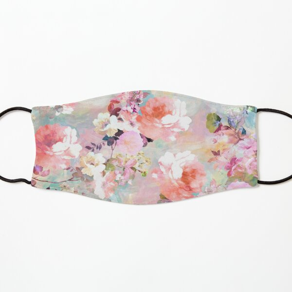 Romantic Pink Teal Watercolor Chic Floral Pattern Kids Mask