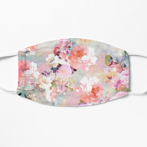 Romantic Pink Teal Watercolor Chic Floral Pattern Flat Mask