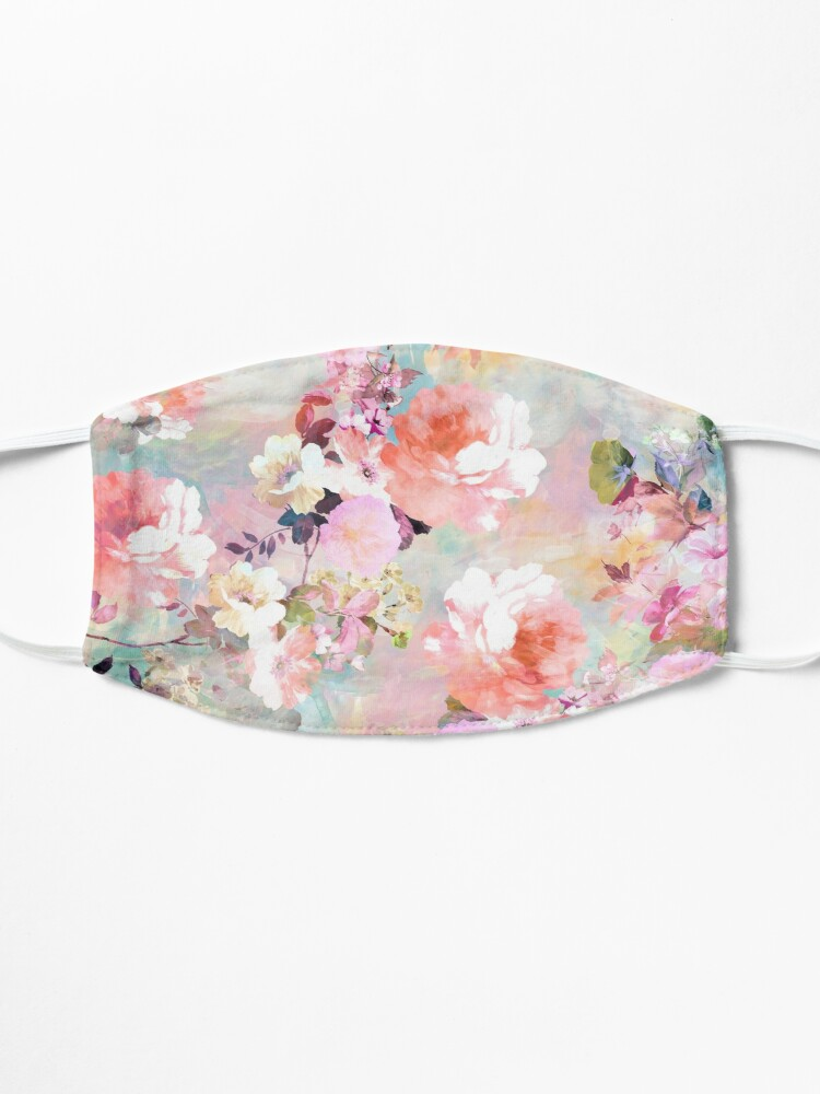 Alternate view of Romantic Pink Teal Watercolor Chic Floral Pattern Mask