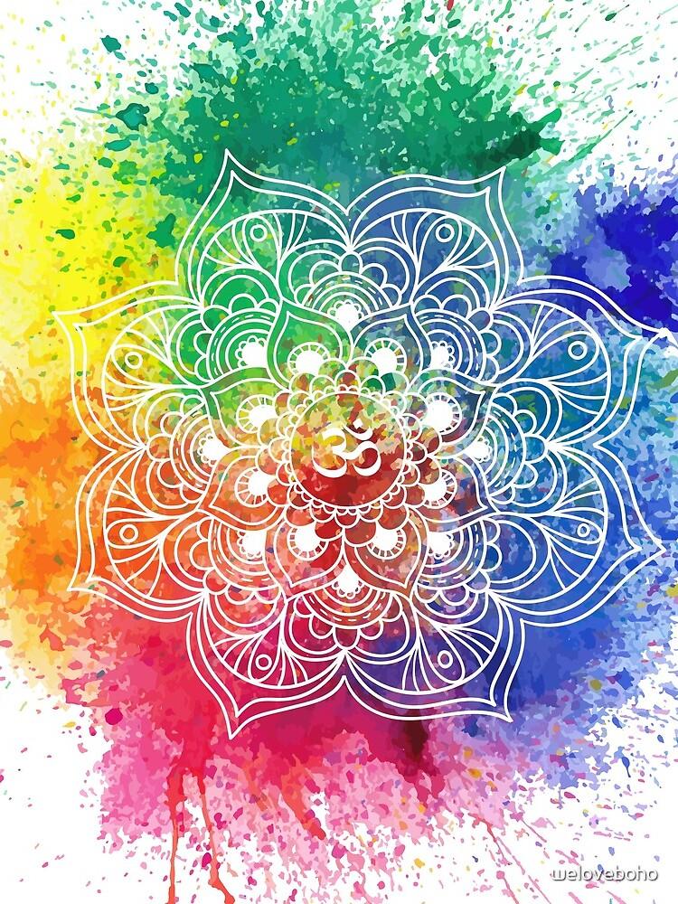 Multicolored Mandala watercolor de weloveboho
