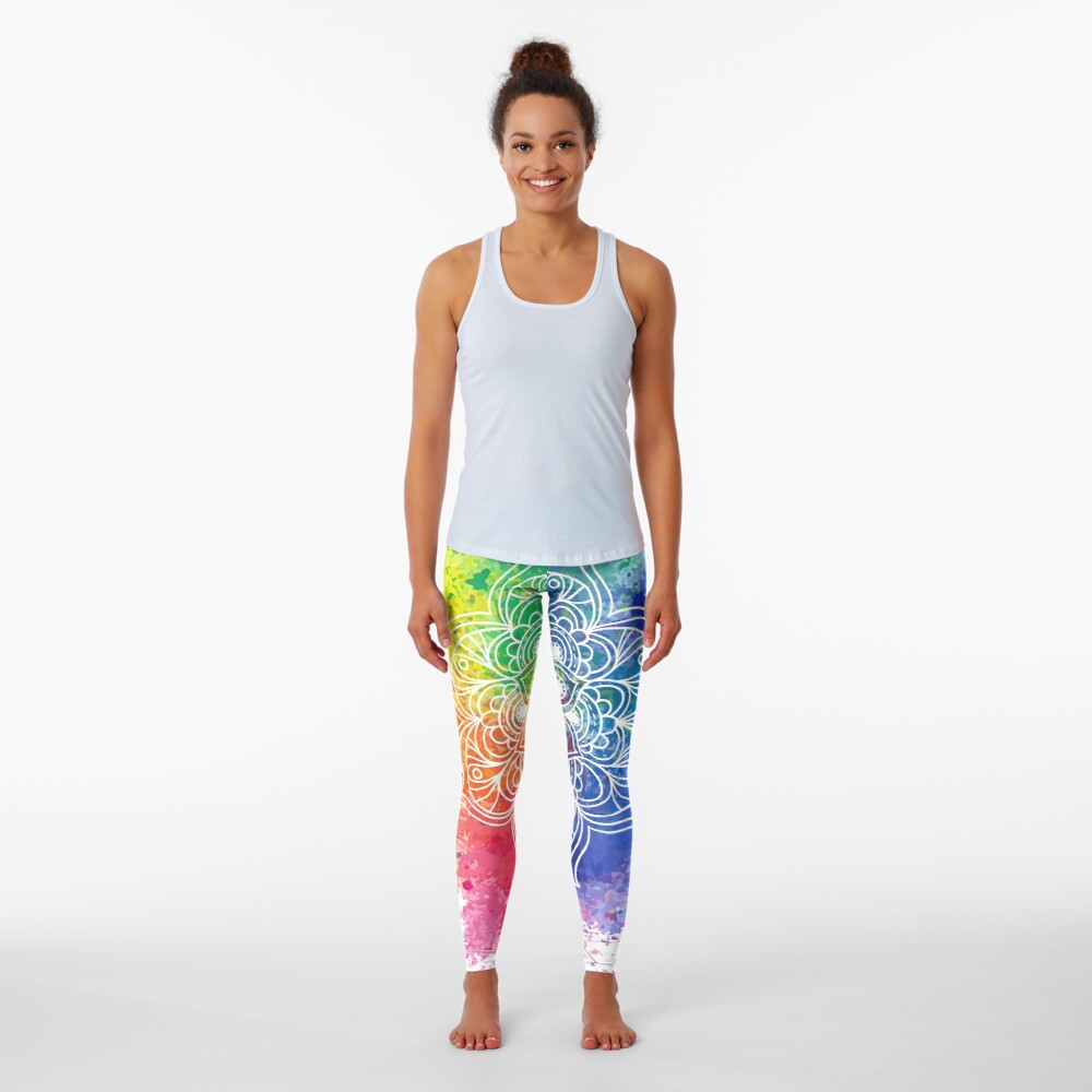 Multicolored Mandala watercolor Leggings