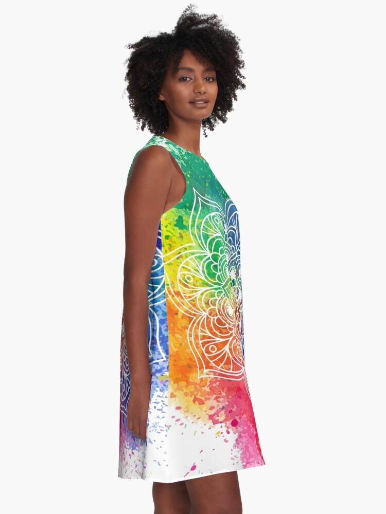 Vista alternativa de Vestido acampanado Multicolored Mandala watercolor