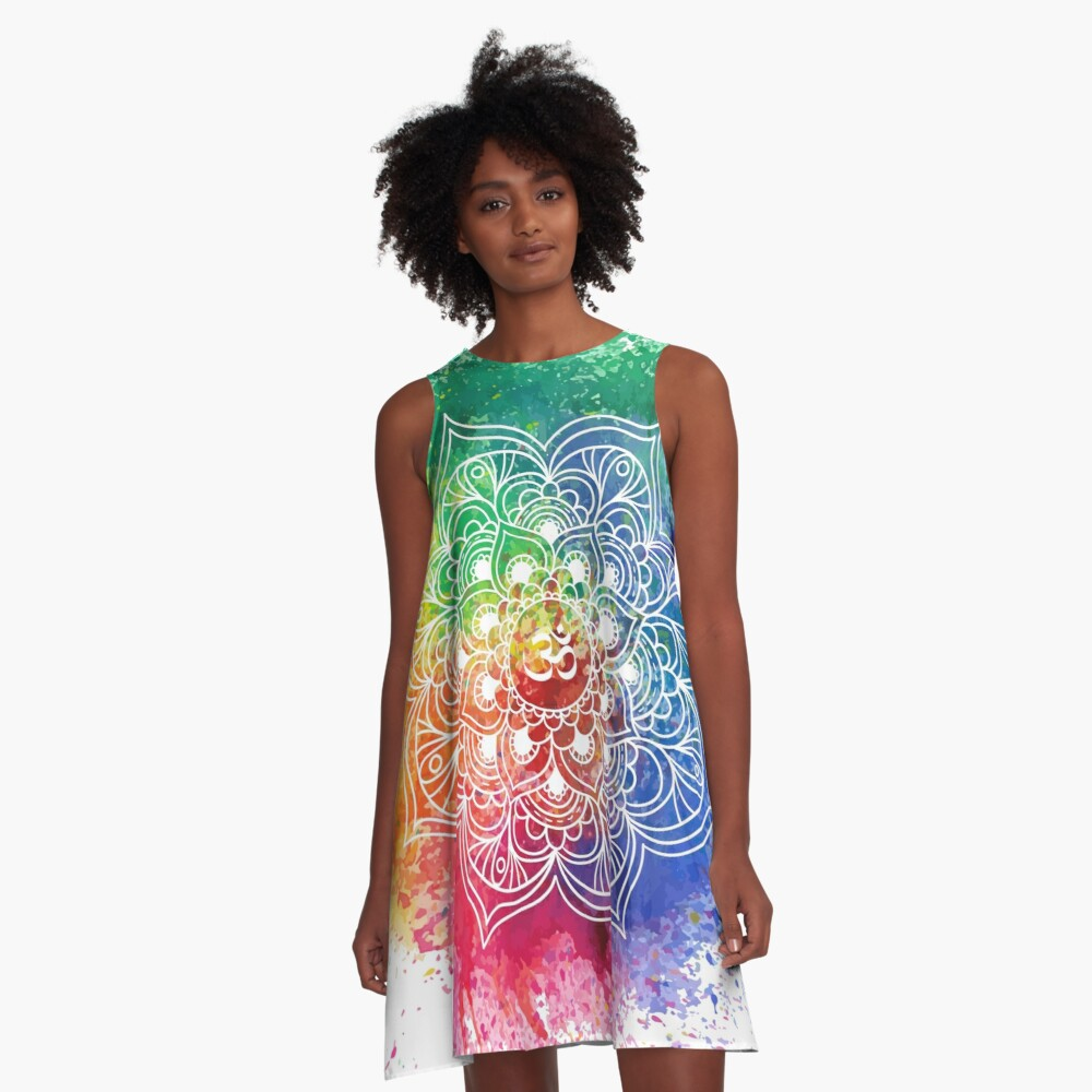 Multicolored Mandala watercolor Vestido acampanado