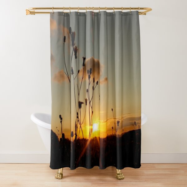 Wildflowers in the sunset Shower Curtain