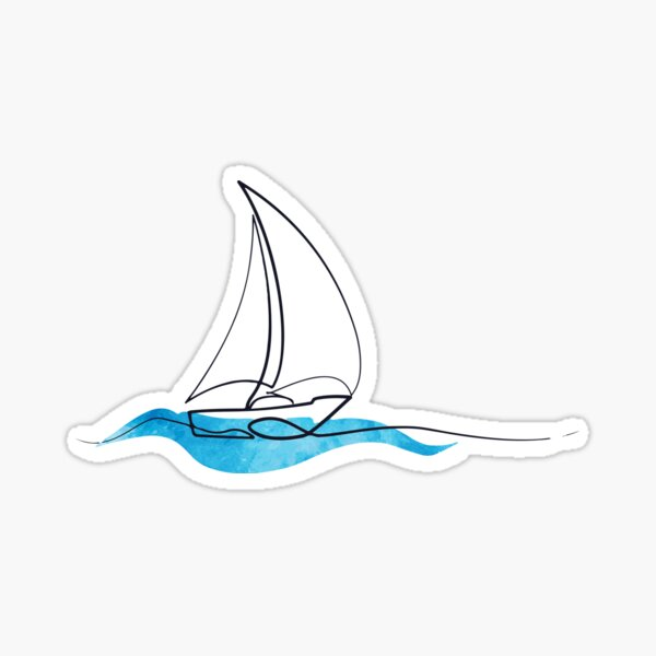 Hydro Flask sticker - ocean blue watercolor wave and sailboat | Line art Sticker