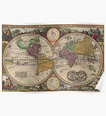 World Map 1657 Poster