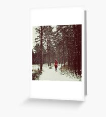 Her Winter of Red Greeting Card