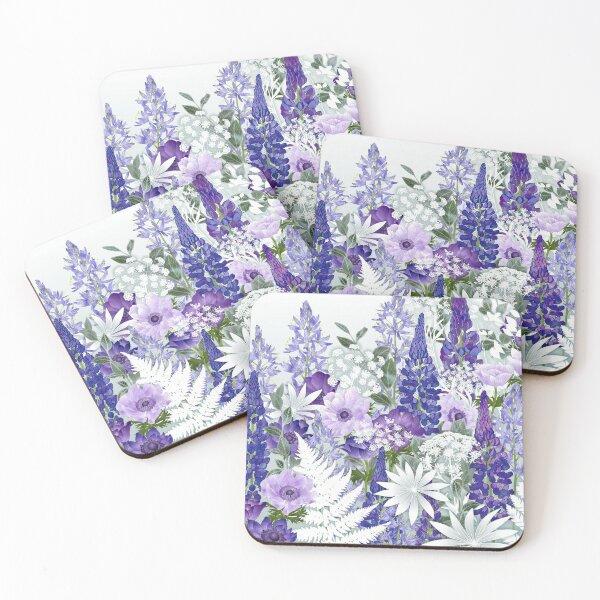 Blue Flower Garden - Lupins, Anemones, Camassia, Ammi Coasters (Set of 4)