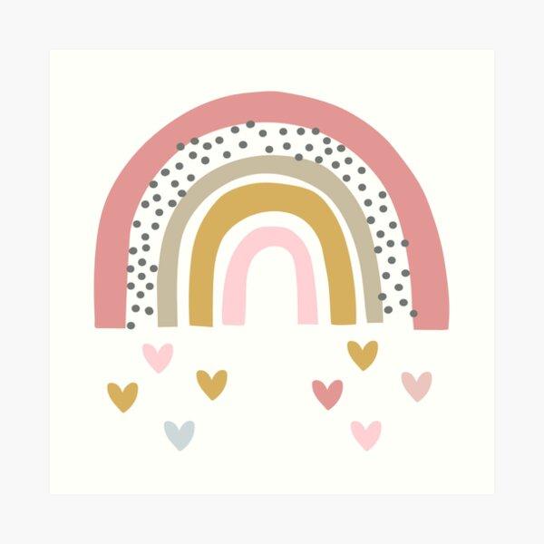Rainbow with rain hearts Art Print
