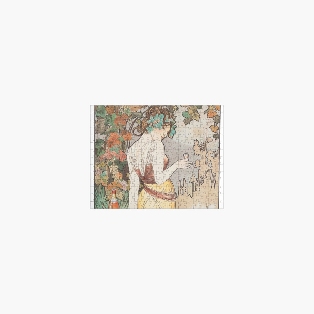 HD. Cognac Bisquit - Paris, by Alphonse Mucha (1899) HIGH DEFINITION (original colors) Jigsaw Puzzle