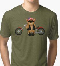 Cute Patriotic Teddy Bear Biker Tri-blend T-Shirt