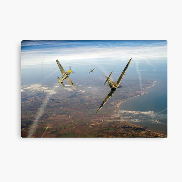 Battle of Britain duellists: Spitfire and Bf 109 head to head Canvas Print
