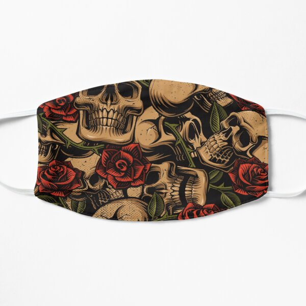 Skull and Roses Tattoo | Interesting, Unique Design | Strength and Protection Flat Mask