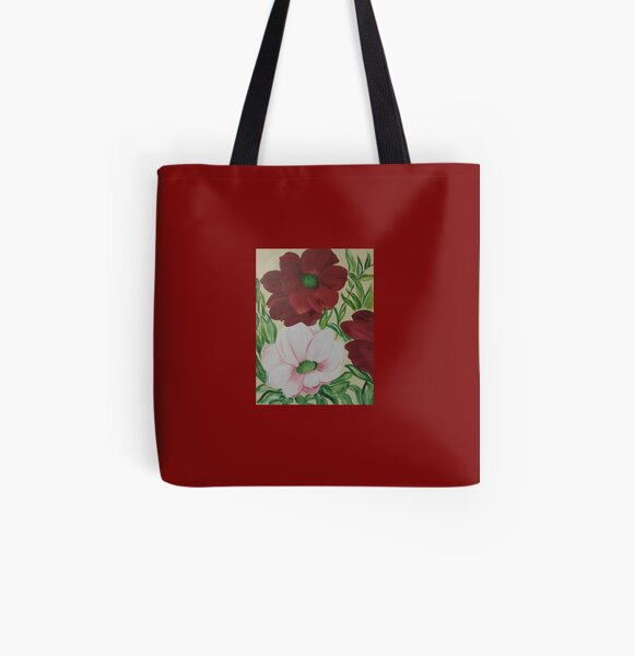 Happy coloured flowers All Over Print Tote Bag