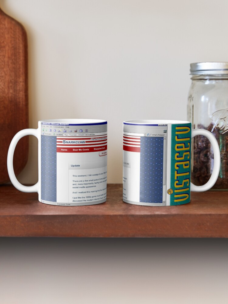 A mug with a screenshot of snarkclaw's home page on it