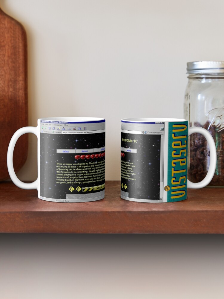 A mug with a screenshot of abercorn's home page on it
