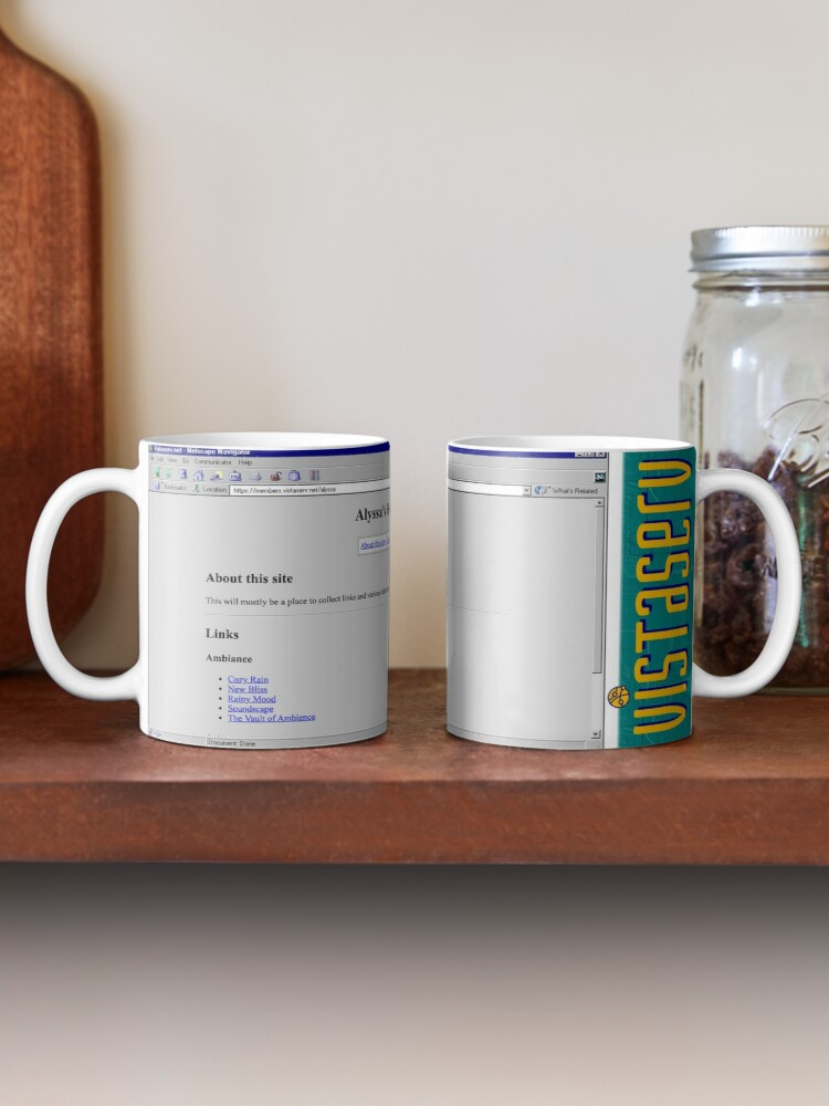 A mug with a screenshot of alyssa's home page on it