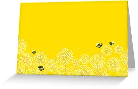 Bees over the Dandelions - Vertical by rusanovska