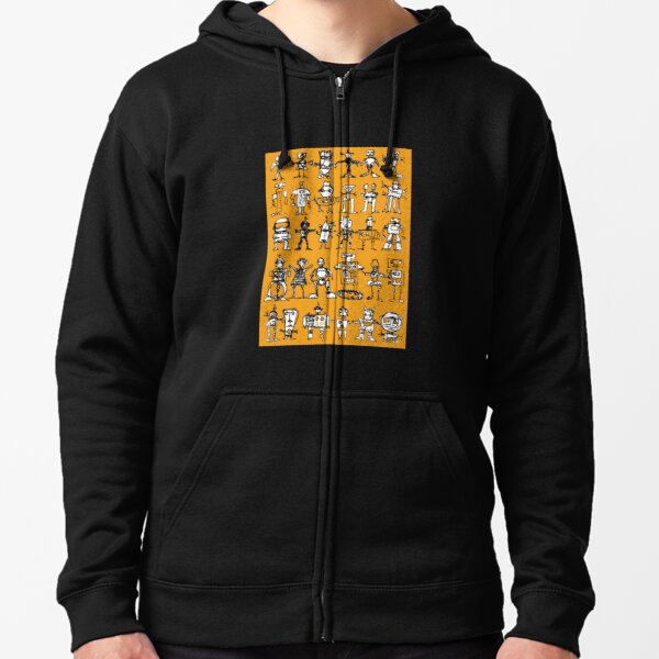 Robots and Aliens in Rows (ochre background) Zipped Hoodie