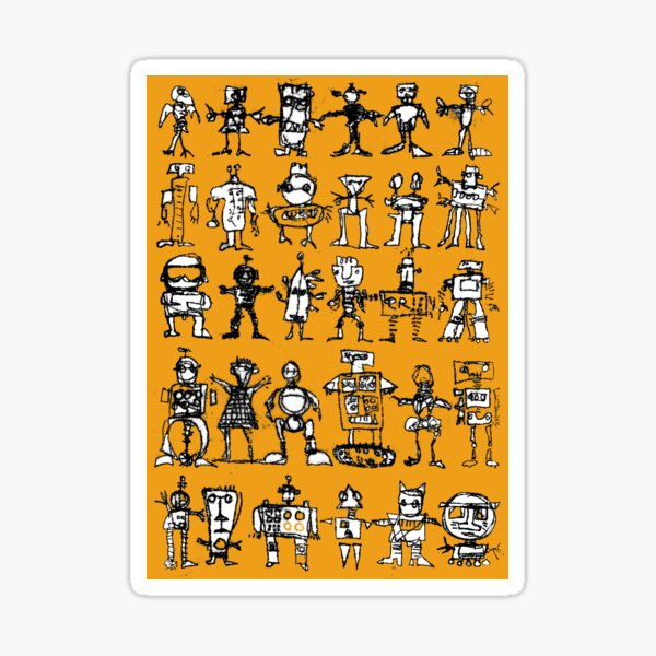 Robots and Aliens in Rows (ochre background) Sticker