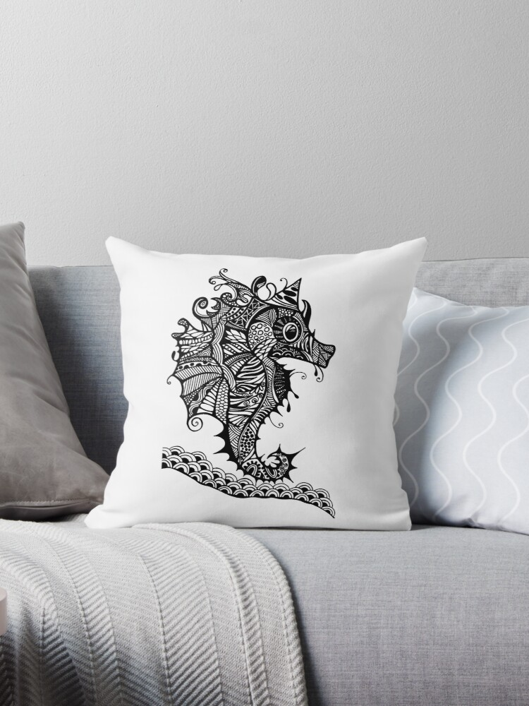 Sea Horse Black and White Doodle Art by MARTY WOODS