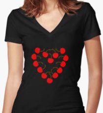 Cherry Heart Women's Fitted V-Neck T-Shirt