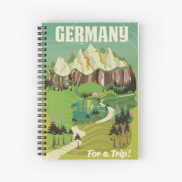 Germany vintage style travel poster Spiral Notebook
