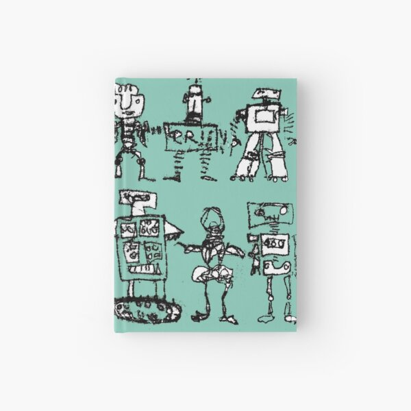 Robots and Aliens in Rows (turquoise background) Hardcover Journal