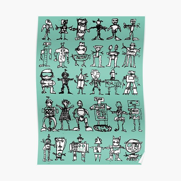 Robots and Aliens in Rows (turquoise background) Poster