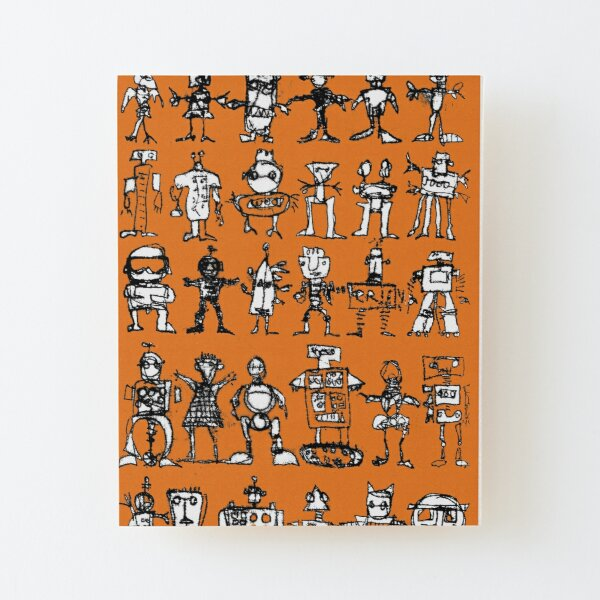Robots and Aliens in Rows (orange background) Wood Mounted Print