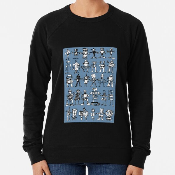Robots and Aliens in Rows (blue background) Lightweight Sweatshirt