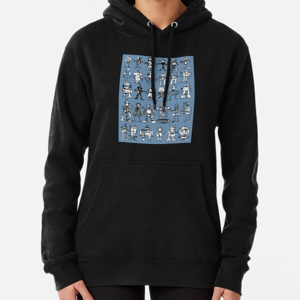 Robots and Aliens in Rows (blue background) Pullover Hoodie