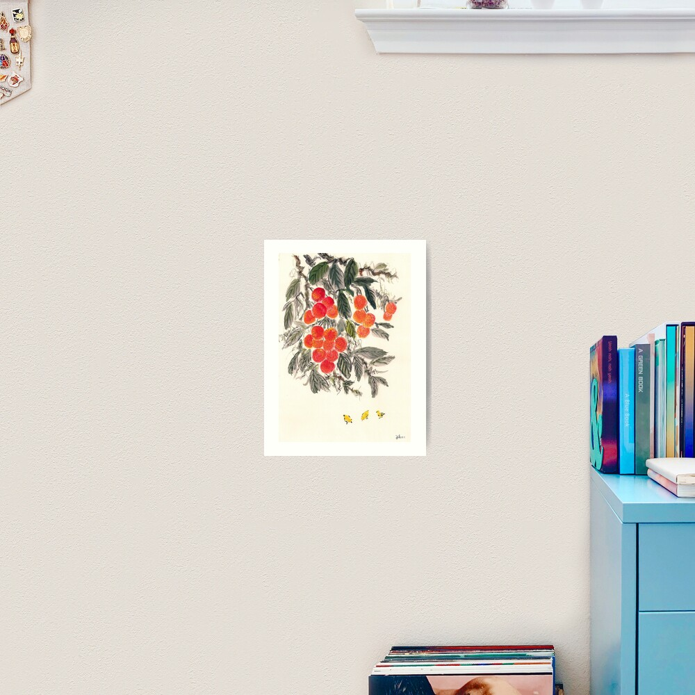 Lychee and Chickens Art Print