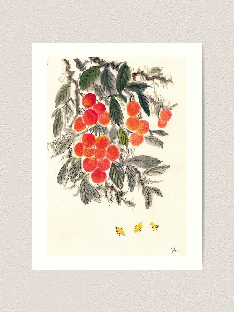 Alternate view of Lychee and Chickens Art Print