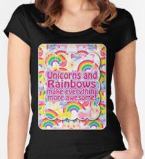 Rainbows and Unicorns Slogan Women's Fitted Scoop T-Shirt