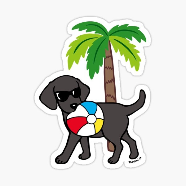 Cool Beach Black Labrador Sticker