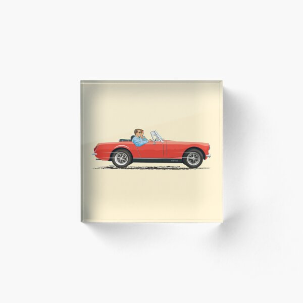 Flame Red coloured Mk3 MG Midget – with the round wheel arches Acrylic Block