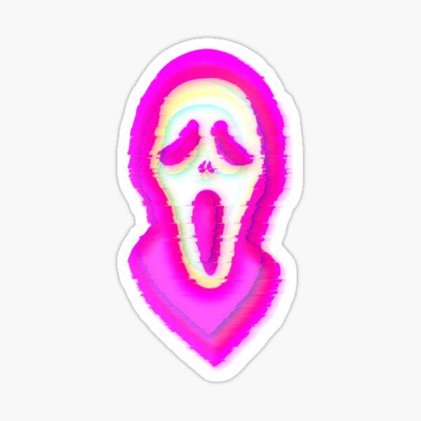 Pink Glitch Face Ghosty Sticker