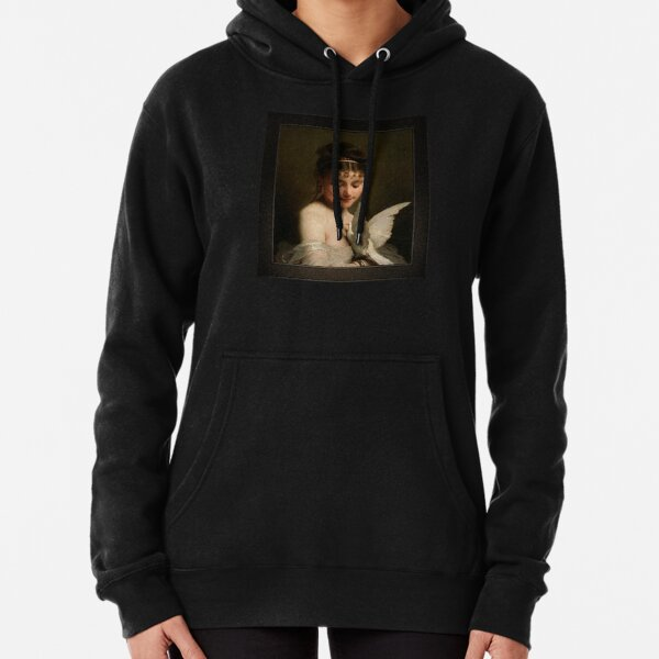 Young Woman With A Dove by Charles Joshua Chaplin Classical Art Old Masters Reproduction Pullover Hoodie