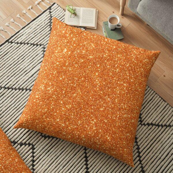 Orange Glitter Sparkle Pattern Floor Pillow